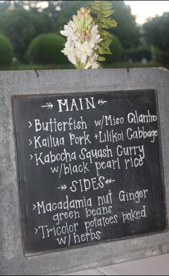 Vintage chalkboard dinner menu sign