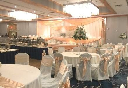 Beige-themed reception set up