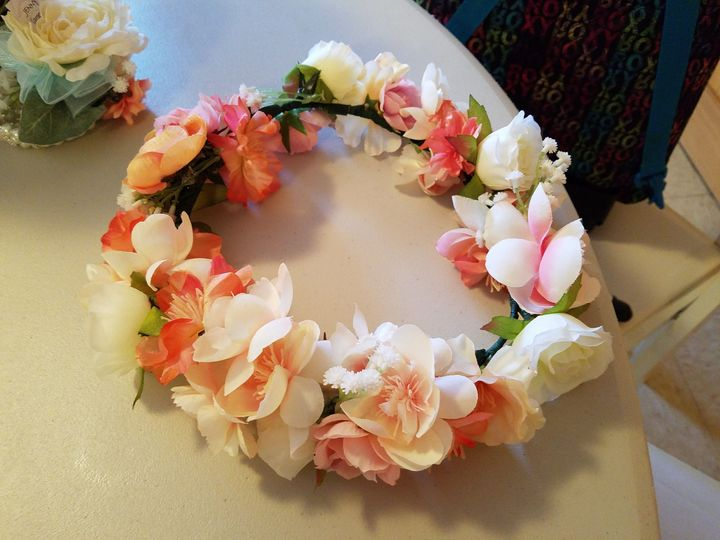 Peach and white flower crown