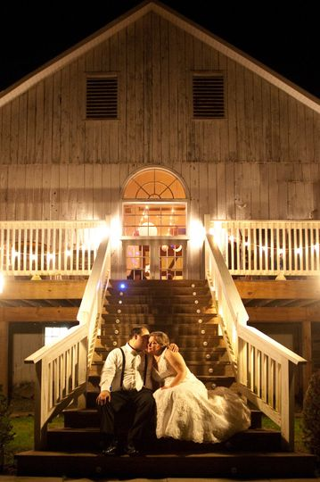 wedding outside night steps barn boones dam