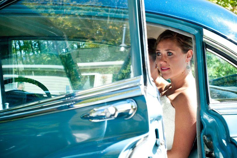 bride classic car blue