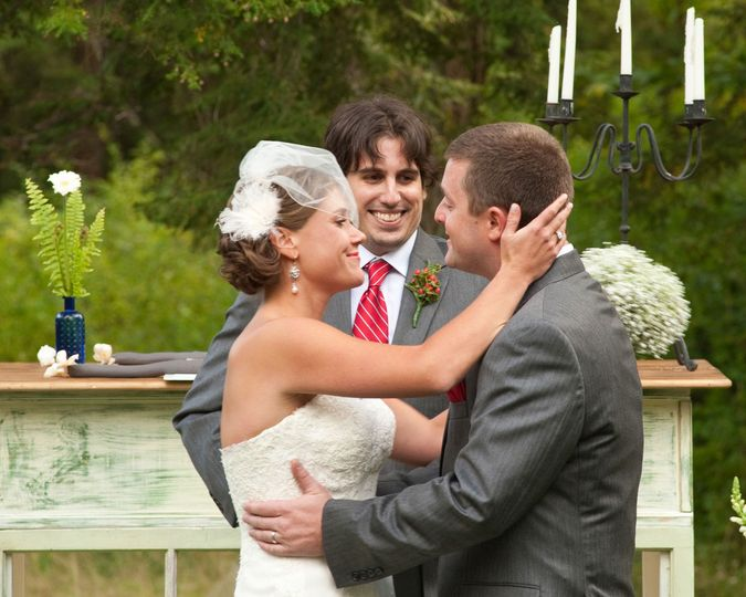 outdoor wedding embrace