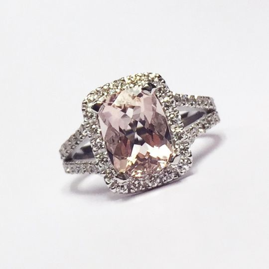 Custom creation by Craig-- Morganite with diamonds in a split shank ring.