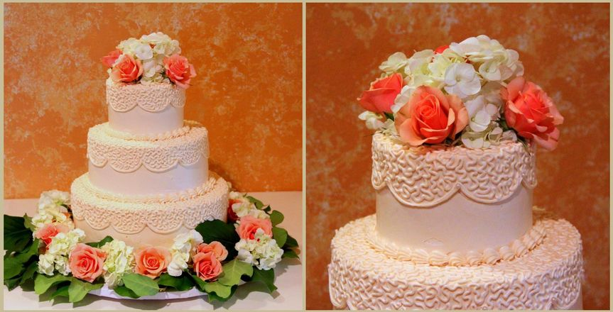Cream-colored buttercream with cornelli lace and fresh flowers