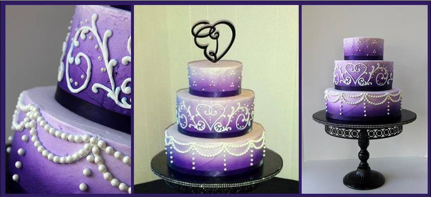 Purple ombre swags and scrolls in buttercream