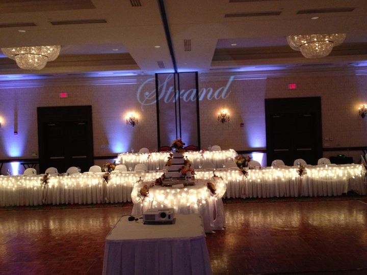 "Uplighting and ""name in lights"" for a wedding at the Marriott West Waukesha"