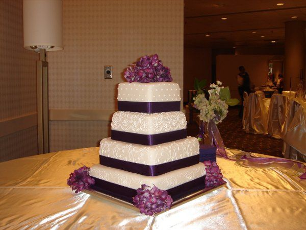 Tmx 1229052194767 Fondantweddingcakewithscrollwork%2Cpurpleribbonandflowers010 Greenville wedding cake