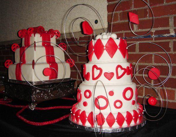 Tmx 1229052682595 4tierfondantcelebrationcakewithreddiamonds%2Chearts%2Ccircles%2Cpearlsandwiresculptures Greenville wedding cake