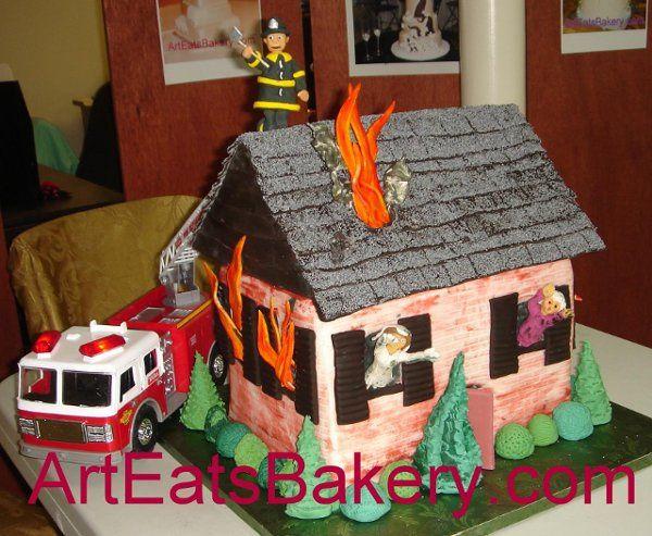 Tmx 1244409381315 HouseonfireGroomscakewithsugarfirefighter Greenville wedding cake