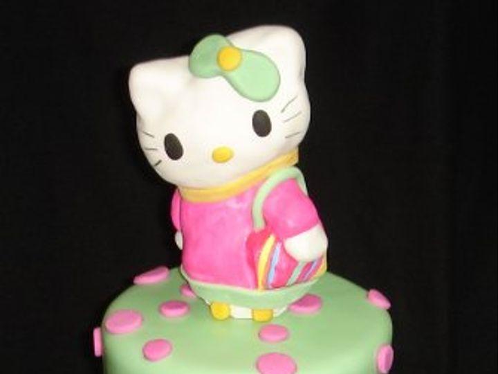 Tmx 1255044469223 HelloKittytwopolkadotandstripetierfondantbirthdaycake Greenville wedding cake