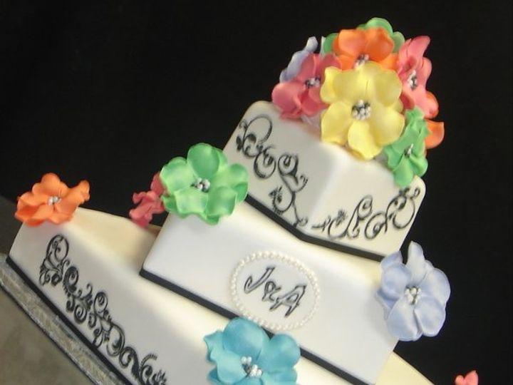 Tmx 1279494565234 Treetierblackandwhitefondantsquareweddingcakewithrainbowcoloredsugarflowers Greenville wedding cake