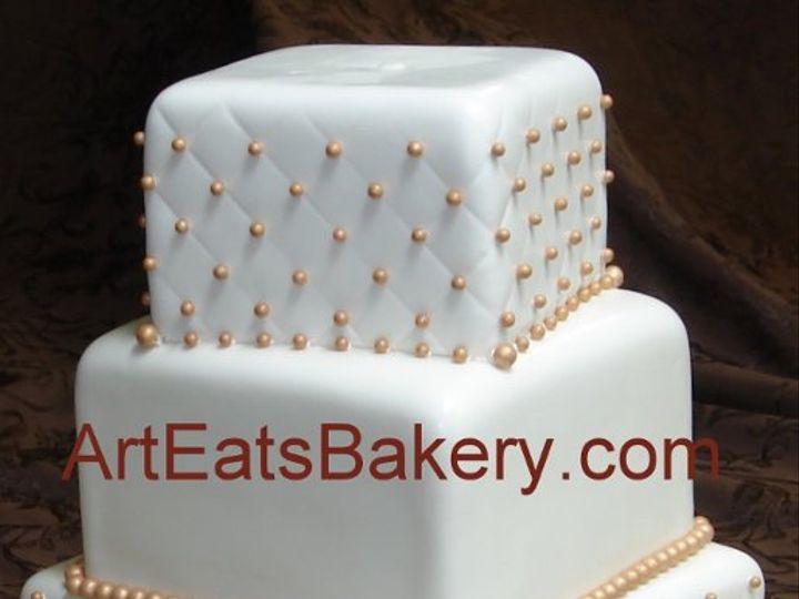 Tmx 1308526768630 Threetiersquarefondantoffsetquiltandgoldpearlcustomweddingcakedesignpicture Greenville wedding cake