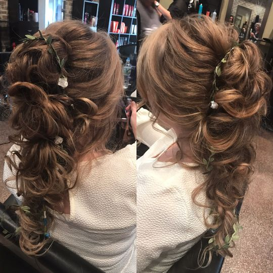 Different angles of curled hairstyle
