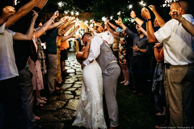 Romantic sparkler send-off