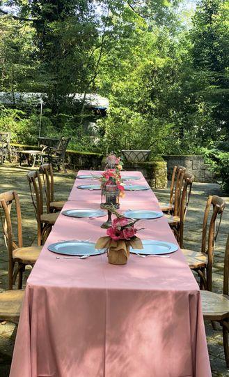 Table setup on patio
