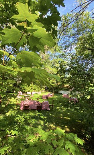 Lush, discreet garden