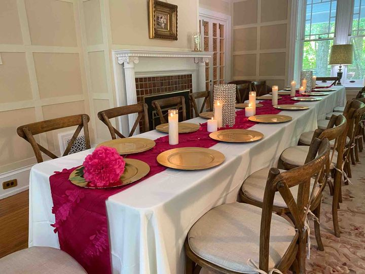 Living room with candle centerpieces