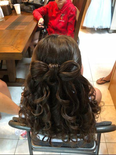 Bow, half up, half down, curls