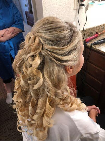 Loose curls, half-up