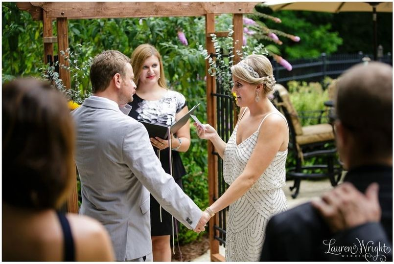 The couple created their own vows to share with one another at their intimate backyard ceremony.