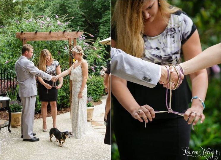 The couple opted for a traditional handfasting as a part of their ceremony.  They chose colored...
