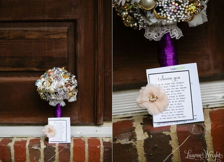 The couple created their own Pinterest-inspired vow cards, perfect for framing as a keepsake after...