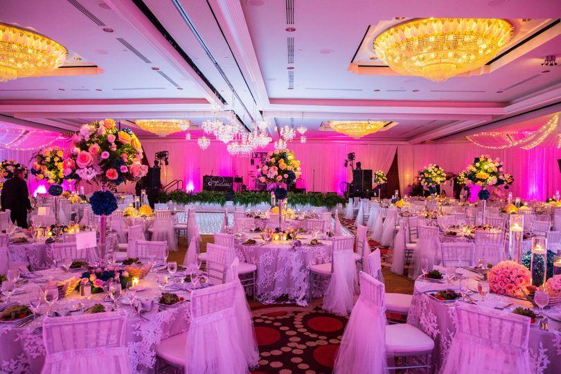 Elegant wedding room overview