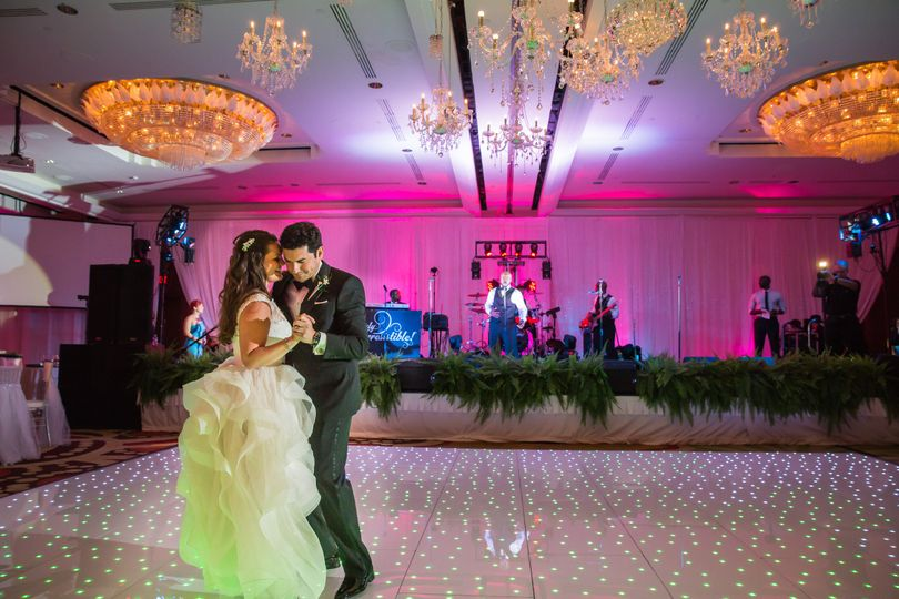 First dance on a starlight dance floor