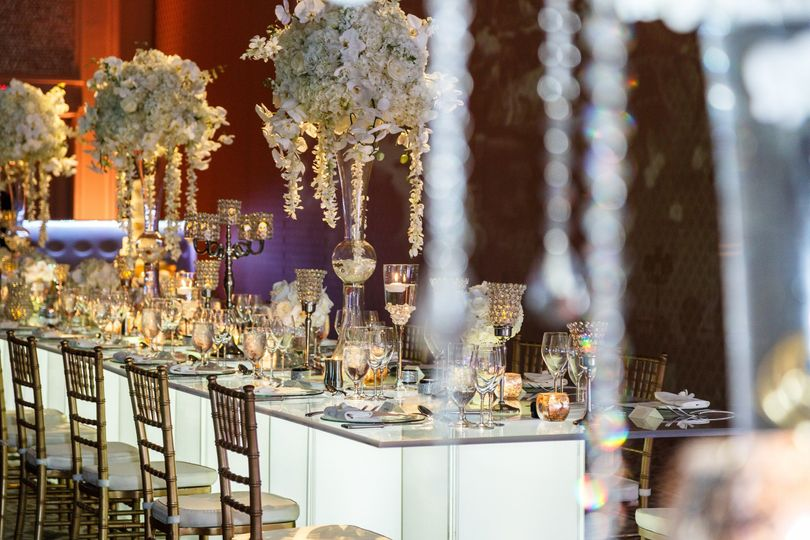 White and gold wedding with heavenly crystal details