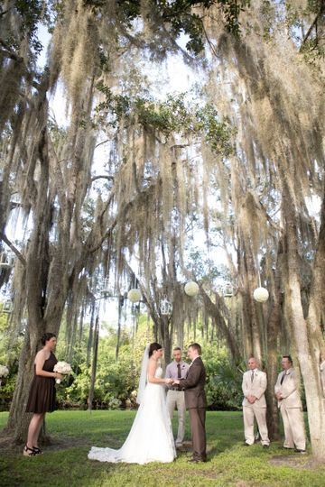 Ceremony at the point - a natural peninsula formed by the creek that runs along the venue