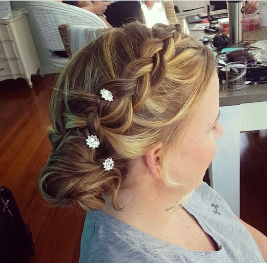 French braid and low bun