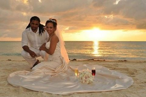 Destination wedding on the beach at sunset