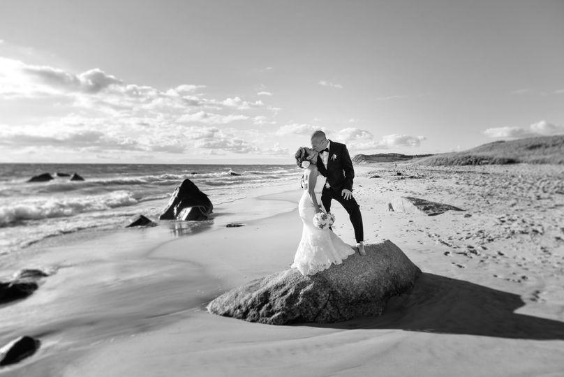 Wedding portrait on boulder