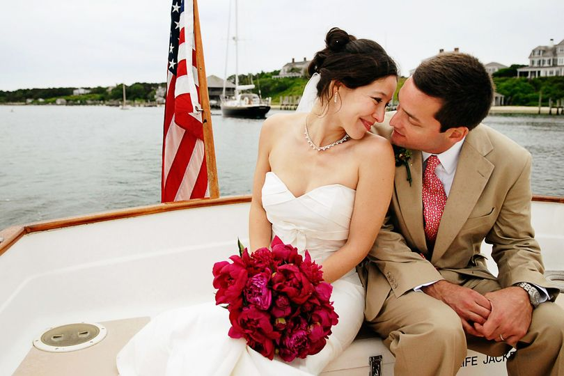 A loving couple on a boat