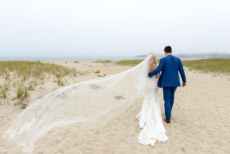 Veil blowing in the wind on beach