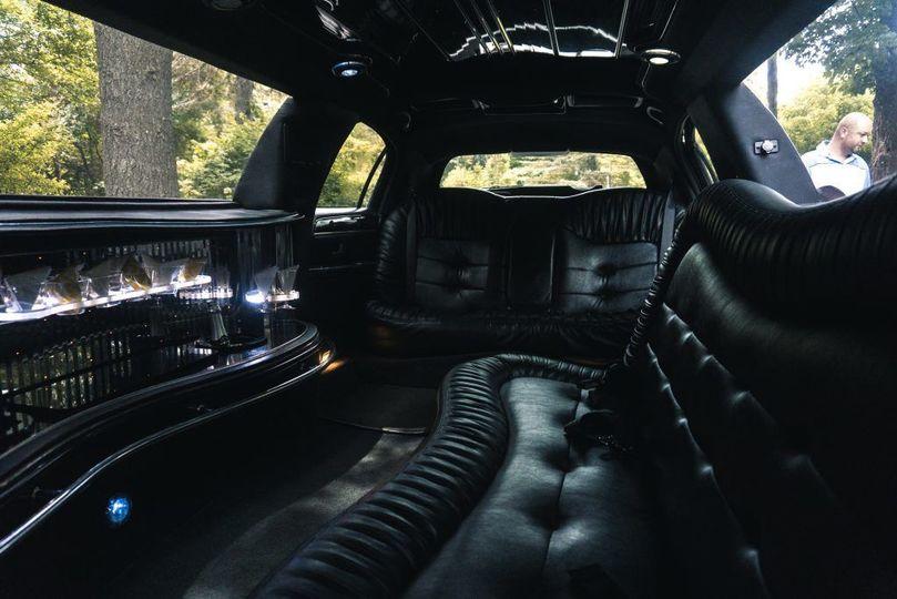 Interior of classic limousine