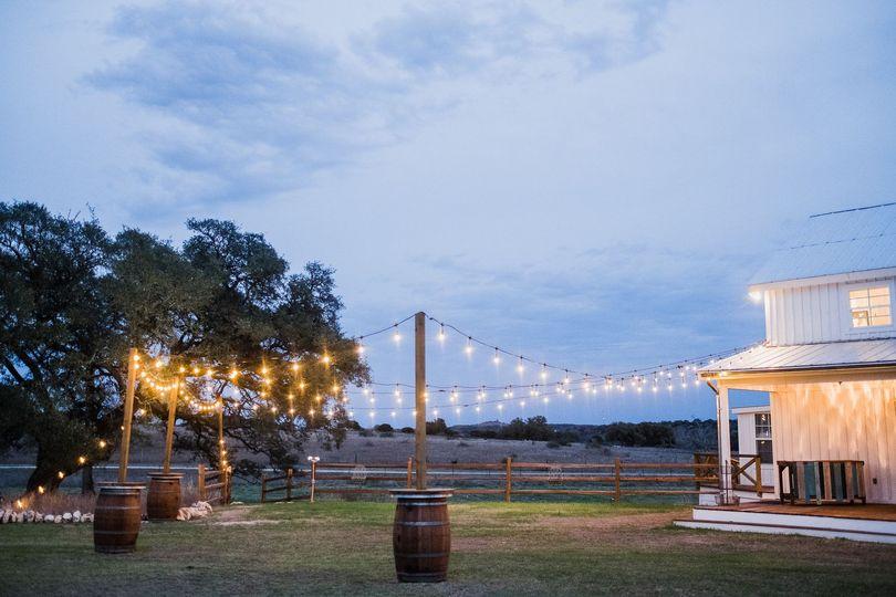 Festoon lighting in the meadow