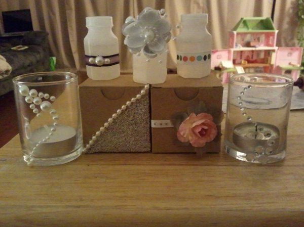 Simple and Sweet Various piece from that line (box Favors, Bubbles, and Candle/Treat Glasses).