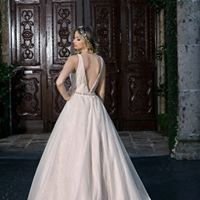Low back line wedding gown