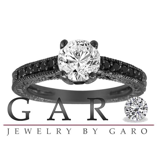 White and Black Diamond Engagement Ring