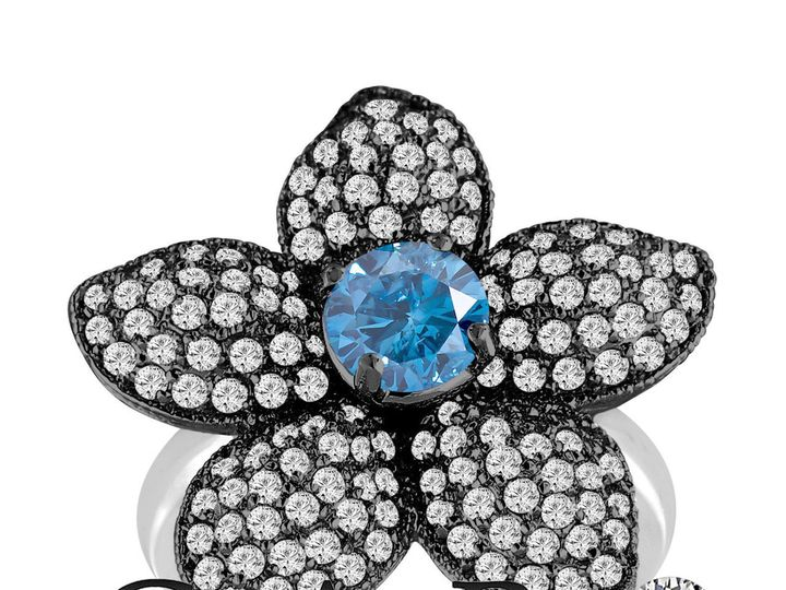 Tmx 1429928232091 Fancybluediamondflowerengagementring2.66carat14kbl New York, NY wedding jewelry