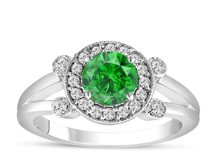 Tmx 1429928525632 Fancygreendiamondengagementring14kwhitegolduniqueh New York, NY wedding jewelry