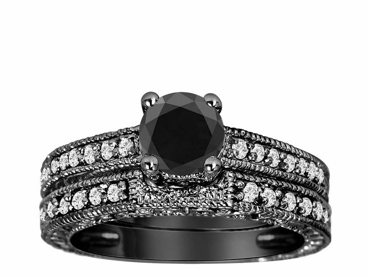 Tmx 1429928750670 1.32 Carat Fancy Black White Diamond Engagement Ri New York, NY wedding jewelry
