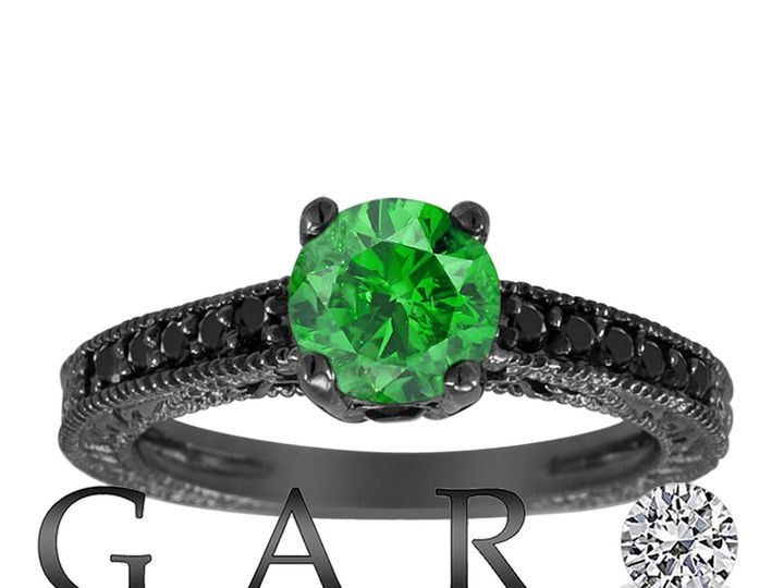 Tmx 1429928768100 Fancygreenblackdiamondengagementring14kblackgoldvi New York, NY wedding jewelry