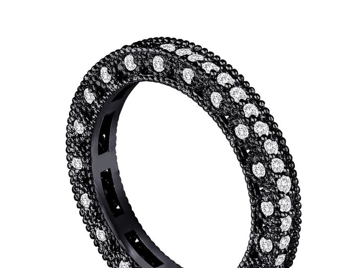 Tmx 1440983940299 Eternitydiamondweddingband14kblackgoldvintagestyle New York, NY wedding jewelry