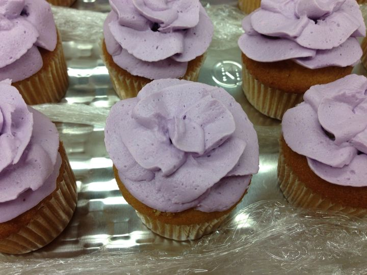 Violet cupcake for spring themed event