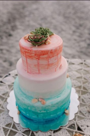 Beach-themed cake