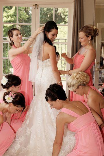 The bride preparing