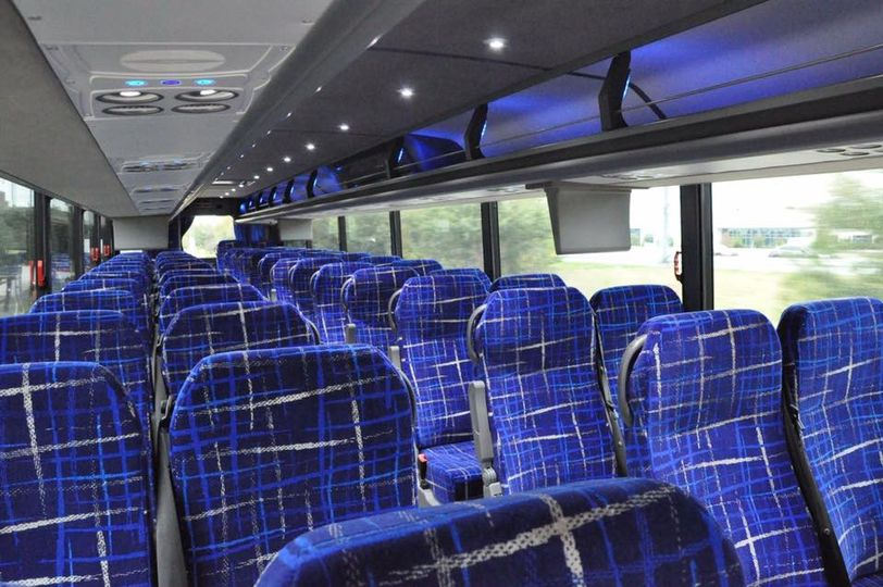 Interior of a charter bus