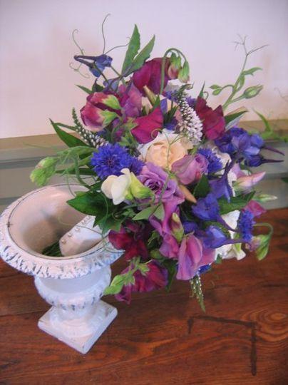 Purple sweet pea bridal bouquet